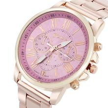 2017 Dignity Roman Number Geneva Stainless Steel Quartz Sports Dial Wrist Watch Pink  Mar 24