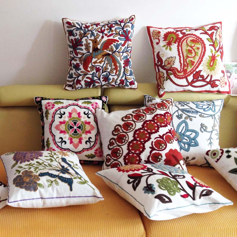 Square Cotton Decorative Cushion Cover for Sofa,Embroidery Cushion Cover,Wedding Throw Pillow Case Cover,Quality Cushion