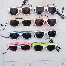 лучшая цена Free Shipping50pcs/lot sound Voice Activate glasses El Wire Glow Sun Glasses white frame DJ Bright Light Safety Light Up glasses