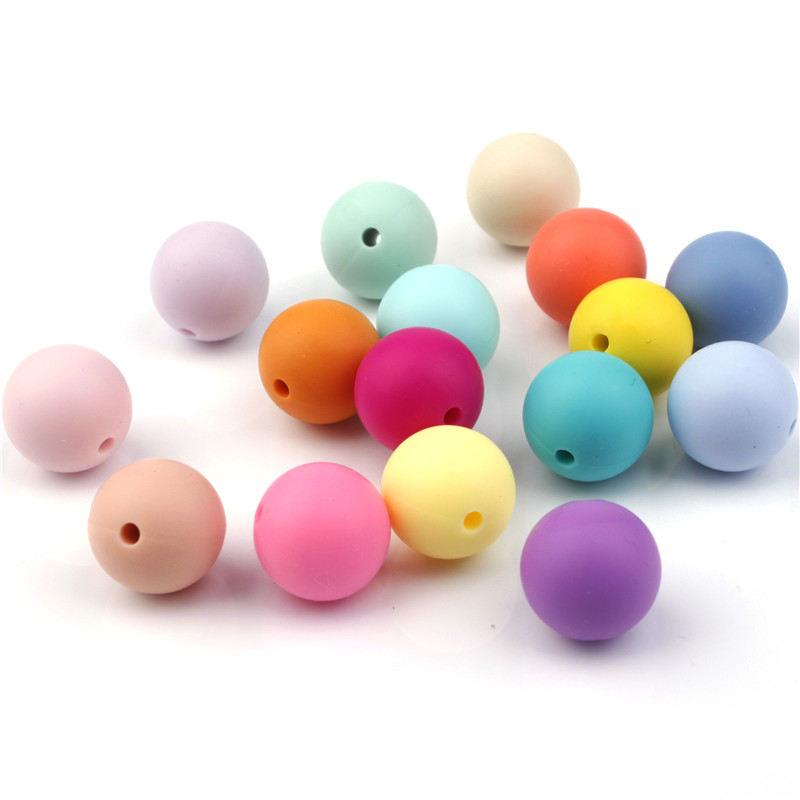 100pcs Silicone Beads 9mm Round Bpa Free Diy Bead For Tooth Silicone Teether Necklace Jewelry Making Baby Teething Toys