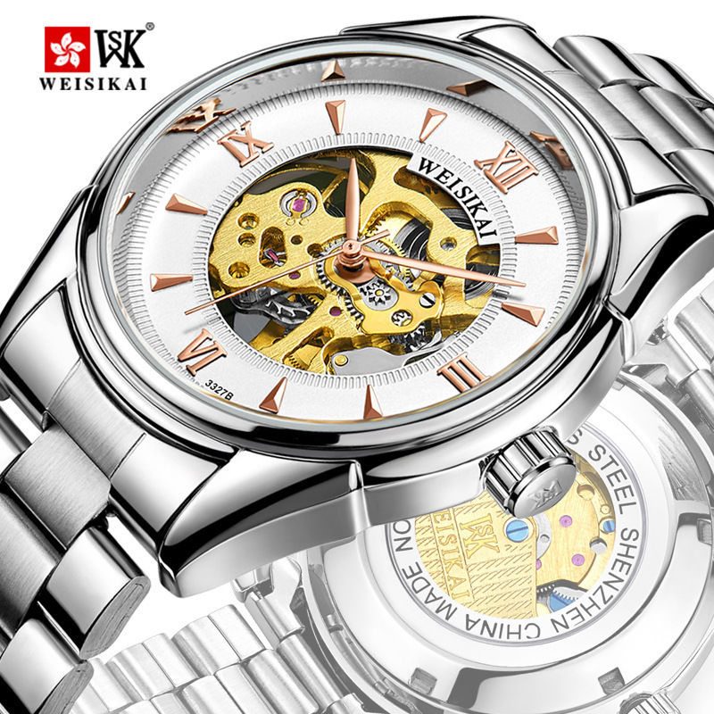 WEISIKAI Top Brand Luxury Mens Watch Skeleton Automatic Mechanical Wristwatch Stainless Steel Hollow Watches Relogio Masculino mce top brand mens watches automatic men watch luxury stainless steel wristwatches male clock montre with box 335
