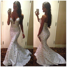 Formal Evening Gowns Shiny Mermaid Sleeveless Off The Shoulder Crysals Heavy Beaded Women Long Prom Dresses