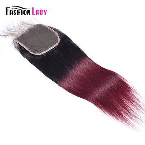 Image 4 - ファッション女性事前色のペルー人毛のレースの閉鎖オンブル T1B/99j 4 × 4 インチストレート織り閉鎖非レミー