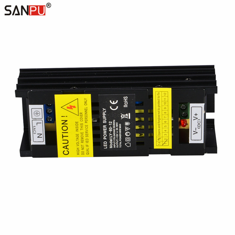 SMPS 220v AC-DC Power Supply 12v 60W 5A Constant Voltage Single Output Transformer Driver Indoor Black for LED Light Strips 48W smps led 150 w 12v power supply 12a constant voltage switch driver 220v ac dc lighting transformer for leds strips indoor use
