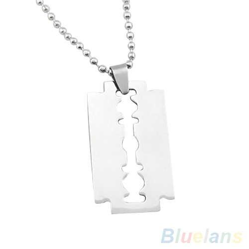 Creative Pendant Men's Stainless Steel Razor Blade Pendant Silver Color Beaded Ball Chain necklace women collares de moda 2019