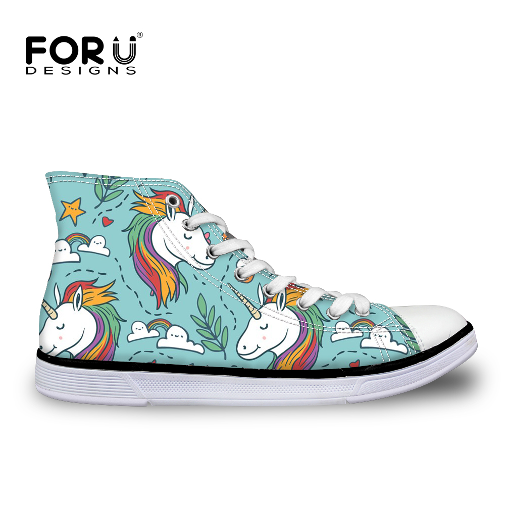 FORUDESIGNS Horse 3D Print Women Casual Vulcanized Shoes Lace-up High Top Female Canvas Flats Shoes Women's Sneakers Zapatos eyelet lace botanical print top