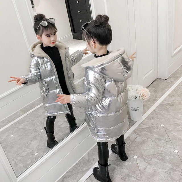 Image 2 - 2019 Girls winter jacket kids down cotton coat Waterproof snowsuit pink Gold silver jacket Hooded parka girls down coats-in Down & Parkas from Mother & Kids