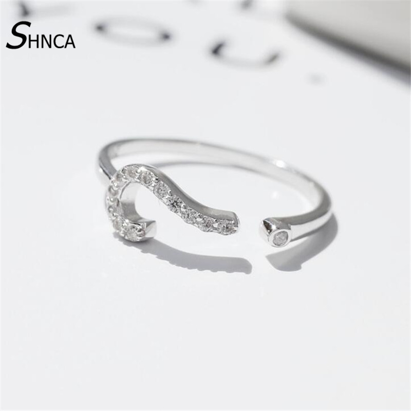 High Quality 100% 925 Sterling Silver Personality Rhinestone Question Mark Symbol Rings For Women Silver 925 Jewelry R279