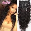 Clip en la extensión Del Pelo Humano Cabeza Llena Afroamericano 7A brasileño de la Virgen afro Rizado Rizado Clip en la extensión Del Pelo negro mujeres