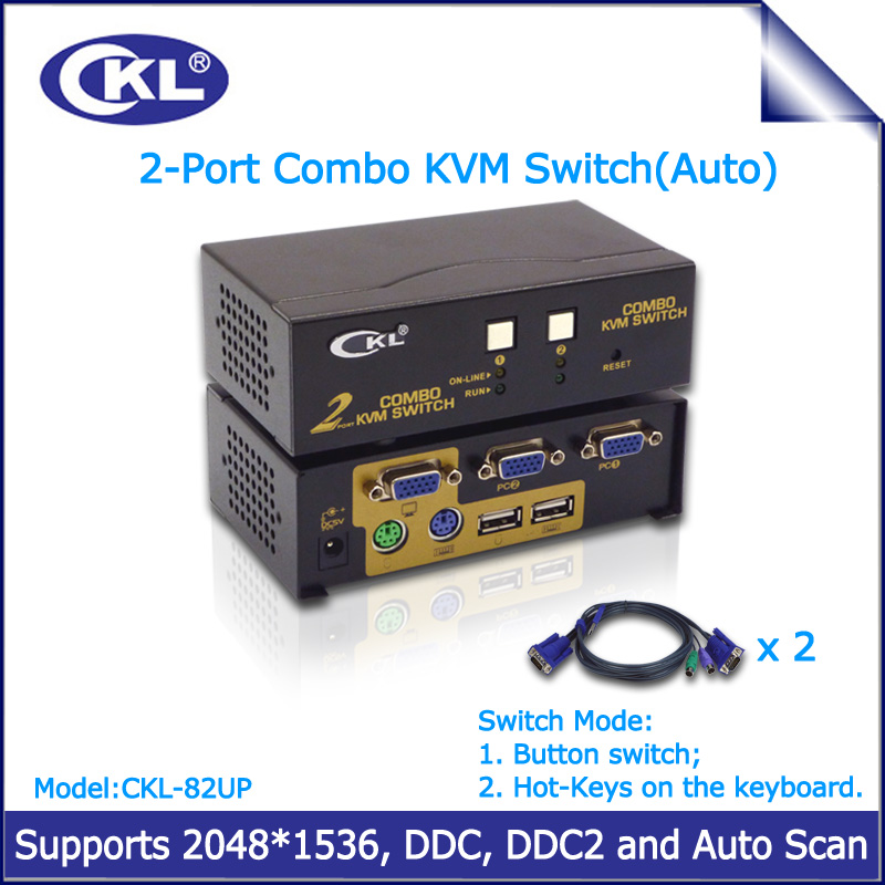 CKL 2 Port USB 2 0 PS 2 VGA KVM Switch with Cables Support Auto Scan ckl 2 port usb 2 0 ps 2 vga kvm switch with cables support auto  at fashall.co