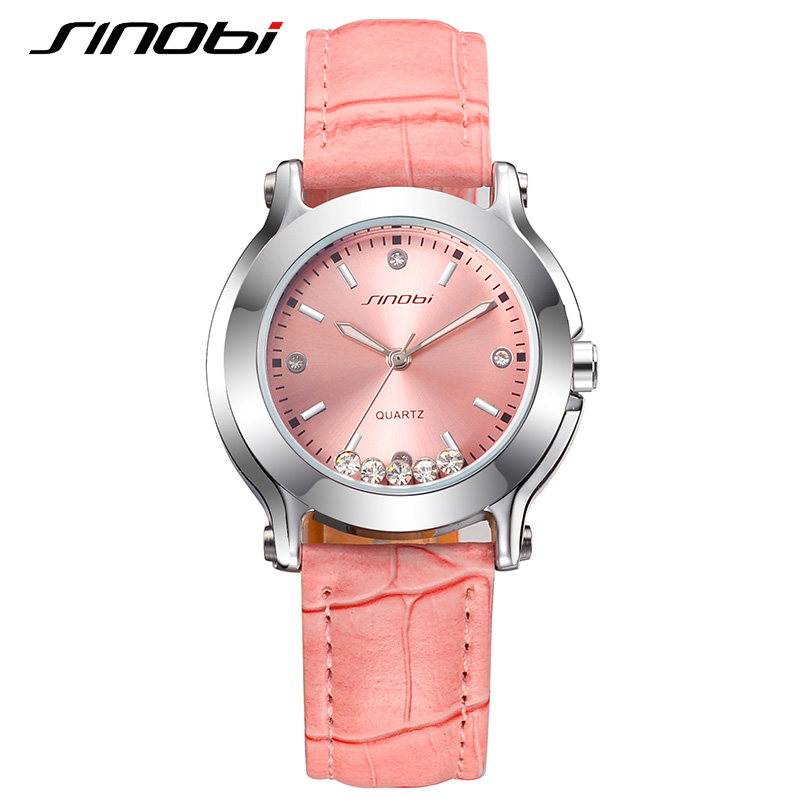 SINOBI Brand Women Watches 2018 Leather Strap Quartz Watch Women Luxury Fashion Crystal diamonds Waterproof Montre Femme