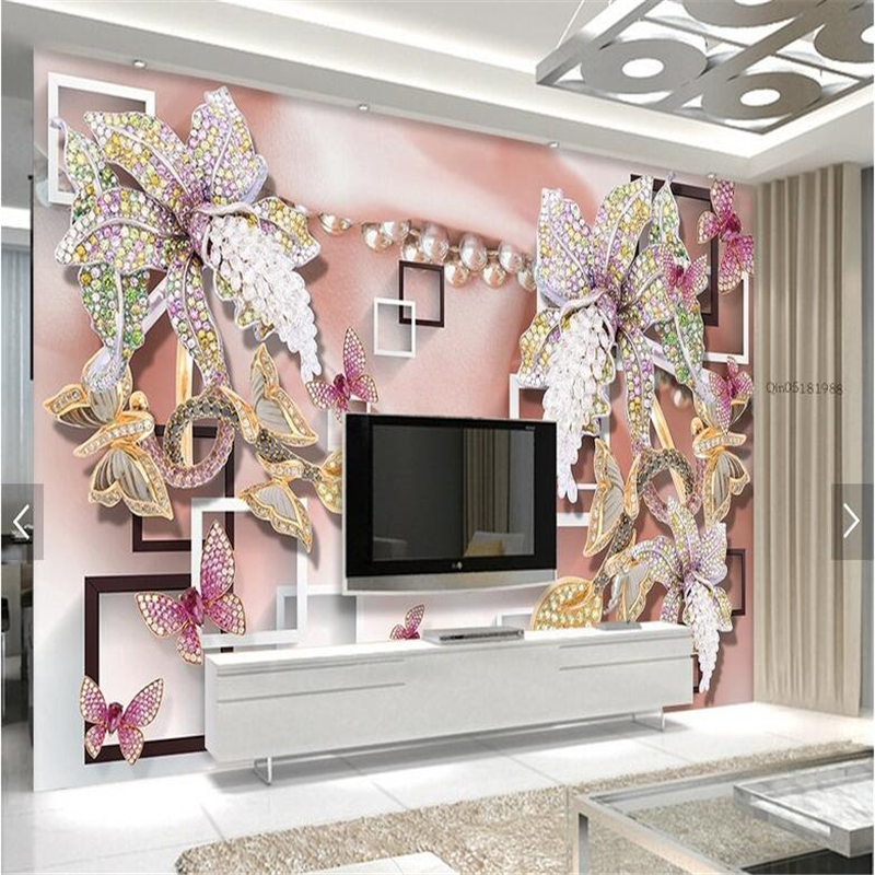 Beibehang Papel De Parede Custom Wallpaper Wall Stickers Large Fresco 3D Stereo Frames Diamond Orchid Jewelry Background Wall