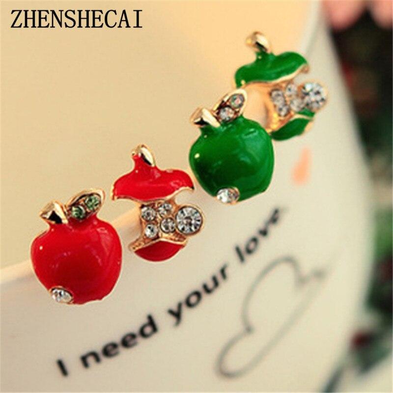 Rhinestones fashion lovely red drops glaze asymmetric crystal apple earrings for women jewelry Hot sale Free shipping e0272