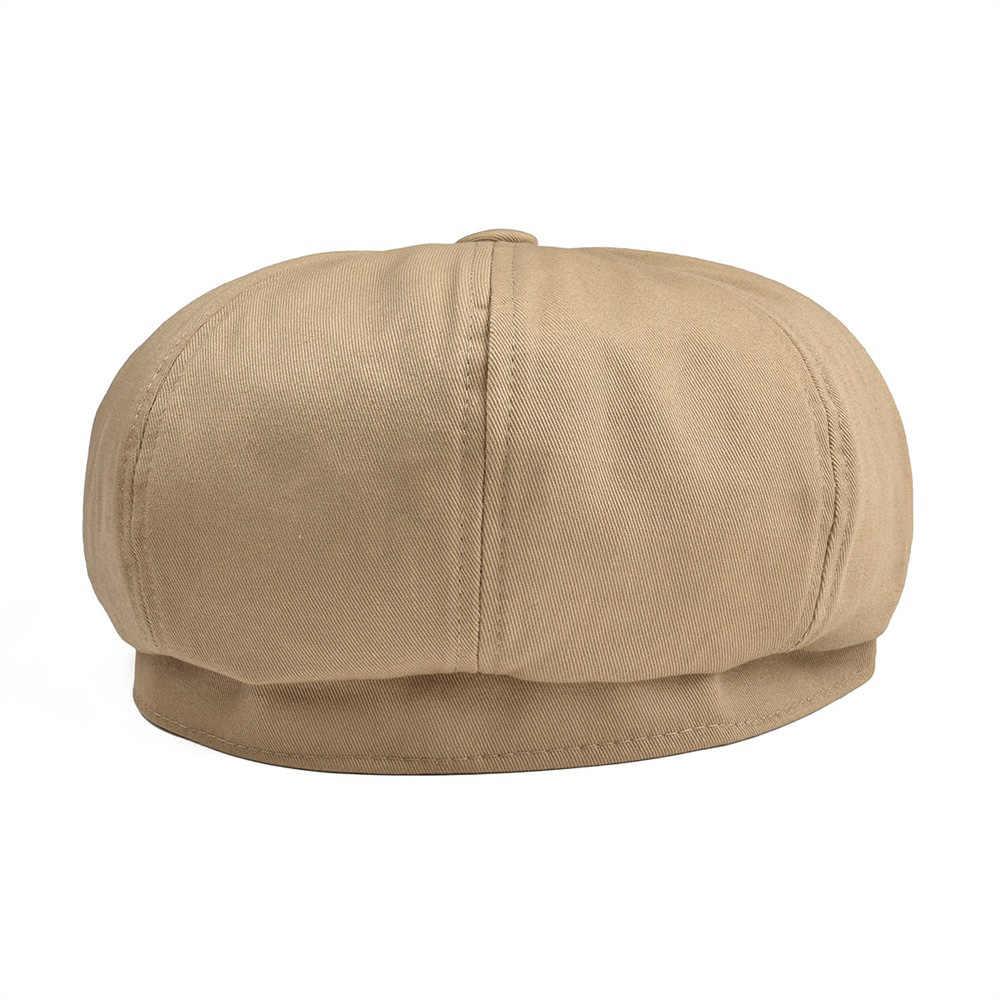 BOTVELA ขนาดใหญ่ Newsboy หมวกผู้ชาย Twill ผ้าฝ้ายแปดแผงหมวกผู้หญิง Baker Boy หมวกสีกากี Retro หมวกชาย Boina Beret 003