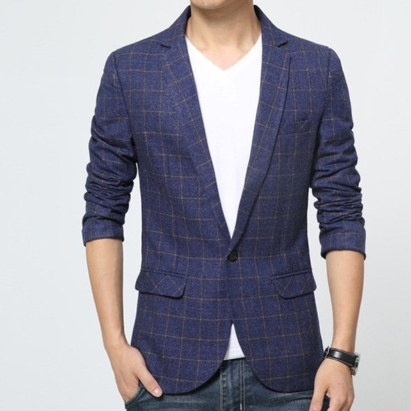 2017 Mens Chaqueta Formal Traje Slim Fit Blazers Azul Gris Plaid Blazer Hombres Bleiser Hombre Tamaño M-XXXL