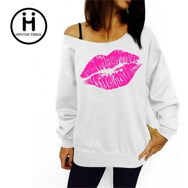 5a52c71a € 9.76  Mujer camiseta mujer 2016 Nuevo otoño labios rojos estampado  Svitshoty o cuello algodón japonés mujer abrigo pulóver mujeres chándal en  ...