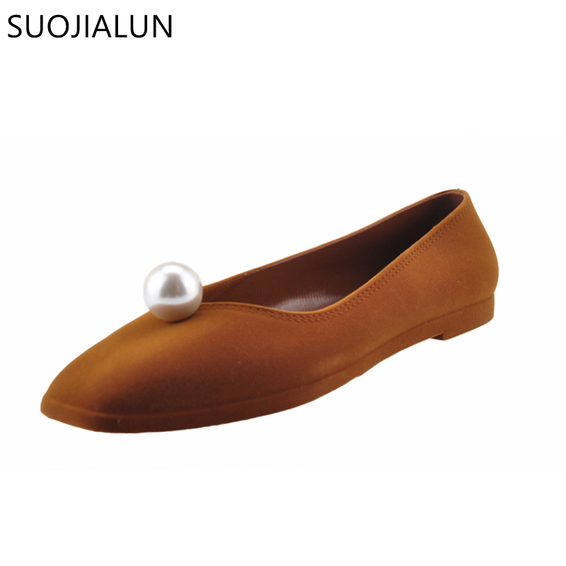 SUOJIALUN Square Toe Luxury Crystal font b Women b font Ballet Flats Slip on Comfortable 2018