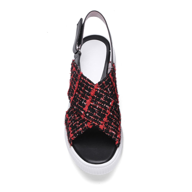 db176eb3201e2 ... Plaid Women s Genuine Leather Sandals Summer Ankle Arrivals Shoes  Platform Fanyuan Cloth Casual Strappy Footwear Shoes ...