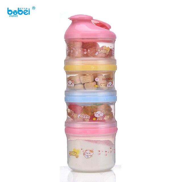 4 layers cartoon portable baby milk powder food storage box container for newborn baby kids and children feeding appliance