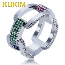 Xukim Jewelry Gold Silver Color Iced Out Cubic Zirconia Cuban Chain Mens Ring Punk Rock Rapper Hip Hop Jewelry Gift Party цены
