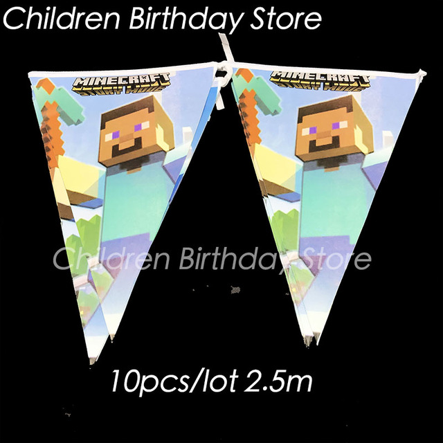 10pcs Lot Minecraft Theme Party Banners My World Birthday Decorations MINECRAFT Flags