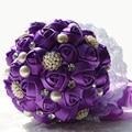 2017 Люкс Для Невесты Свадебный Букет Дешевые Новый Роскошный Кристалл Темно-Фиолетовый Ручной Искусственный Цветок Розы Свадебные Букеты