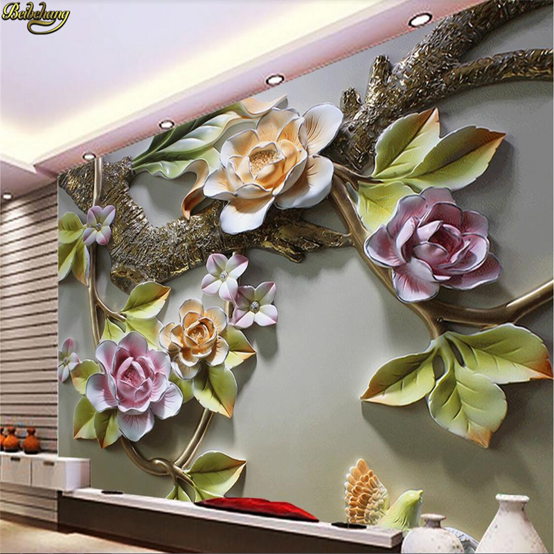 Beibehang personalizado foto papel de parede mural 3d flor pássaro em relevo pintura decorativa papéis decoração da sua casa