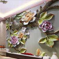 beibehang Custom Photo Wallpaper Mural 3D Flower Bird Embossed Wall Decorative Painting papel de parede wall papers home decor