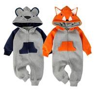 New Fashion Animal Baby Romper Fox Bebe Infant Clothing Baby Boy Girl Clothes Cute Cartoon Bear Winter Warm Jumpsuit Costume