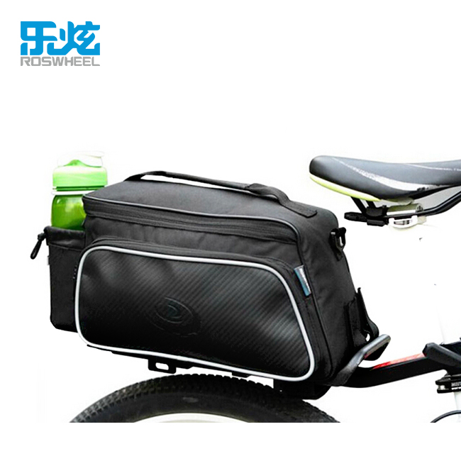 ROSWHEEL 10L Cycling Bike Carbon Fiber Leather Bicycle Rear Rack Seat Pannier Bag Pouch
