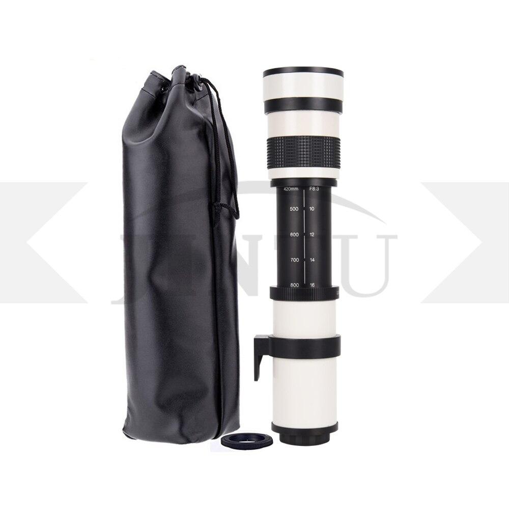 2019 JINTU blanc 420-800mm F/8.3-F16 téléobjectif manuel Zoom caméra + support T2 pour CANON 80D 70D 60D 30D 40D 50D 60D 5D III 7D