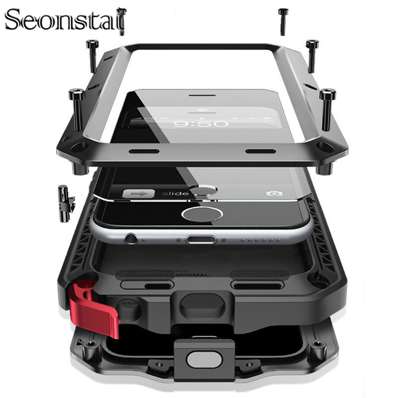 Seonstai Heavy Duty Case for Samsung S8 Plus Metal Case Shockproof Cover For Galaxy S4 S5 S6 S7 edge Note 8 5 4 Shockproof Cover