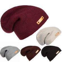 Men Ladies Knitted Winter Oversized Slouch Crochet Beanie Hat Rib Cap skateboard