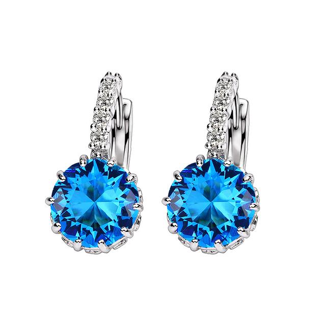 Jemmin 7Colors Luxury Women 925 Sterling Silver Austrian Crystal Hoop Earrings For Wedding Engagement Brincos Jewelry