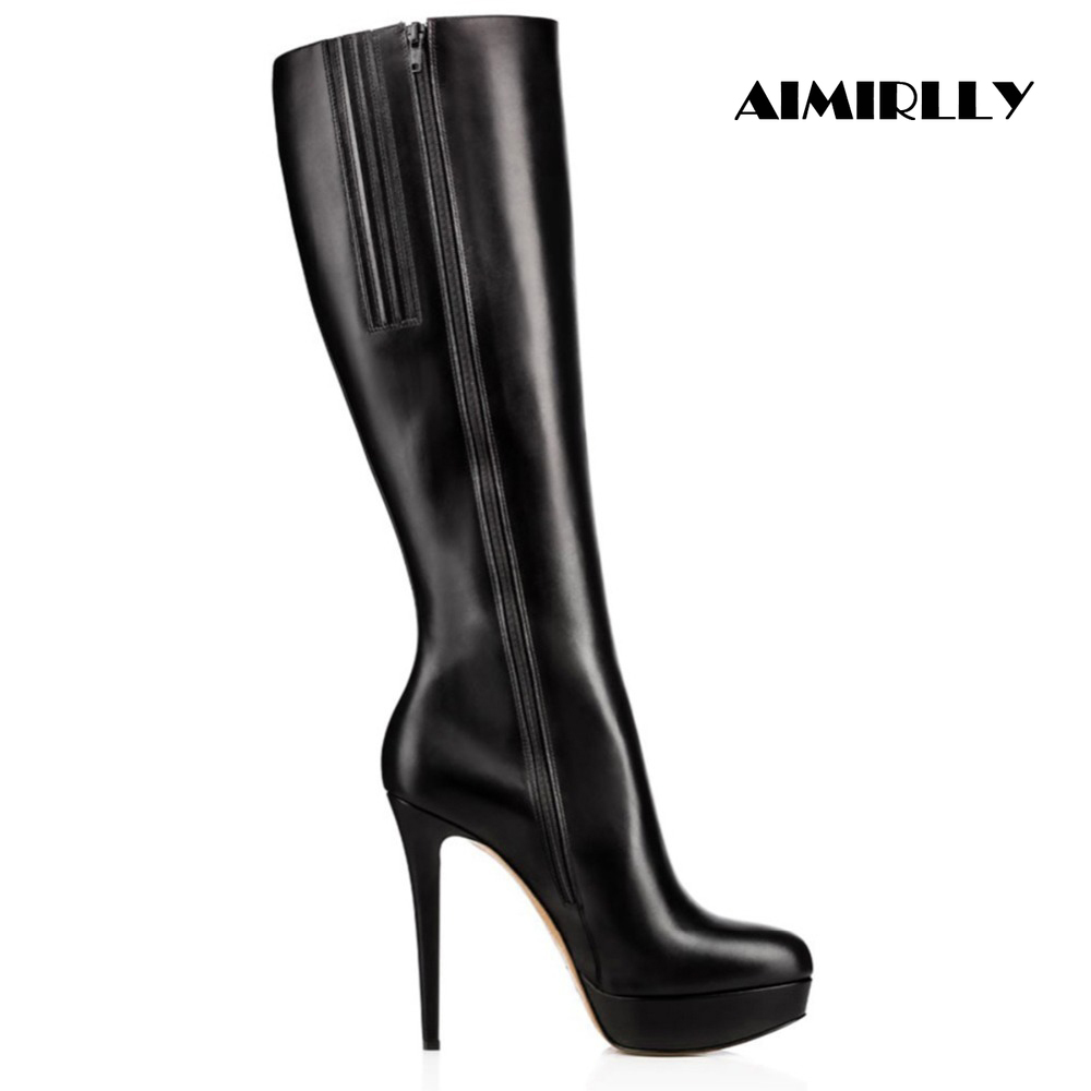 Women Ladies Round Toe High Heel Platform Knee High Boots Black Full Zipper Winter Party Fashion Shoes Footwear Size 4~15.5Women Ladies Round Toe High Heel Platform Knee High Boots Black Full Zipper Winter Party Fashion Shoes Footwear Size 4~15.5