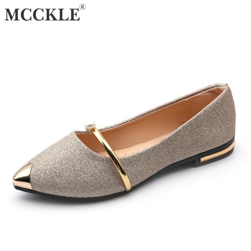 MCCKLE Flat For Woman Autumn Pearl Bling Low Heel Shoes Metal Slip On Casual Women Shoe Fashion Pointed Toe Ladies Footwear big size footwear woman flats shoes bling beads pointed toe boat shoes for women black solid fashion soft sole ladies shoe 43
