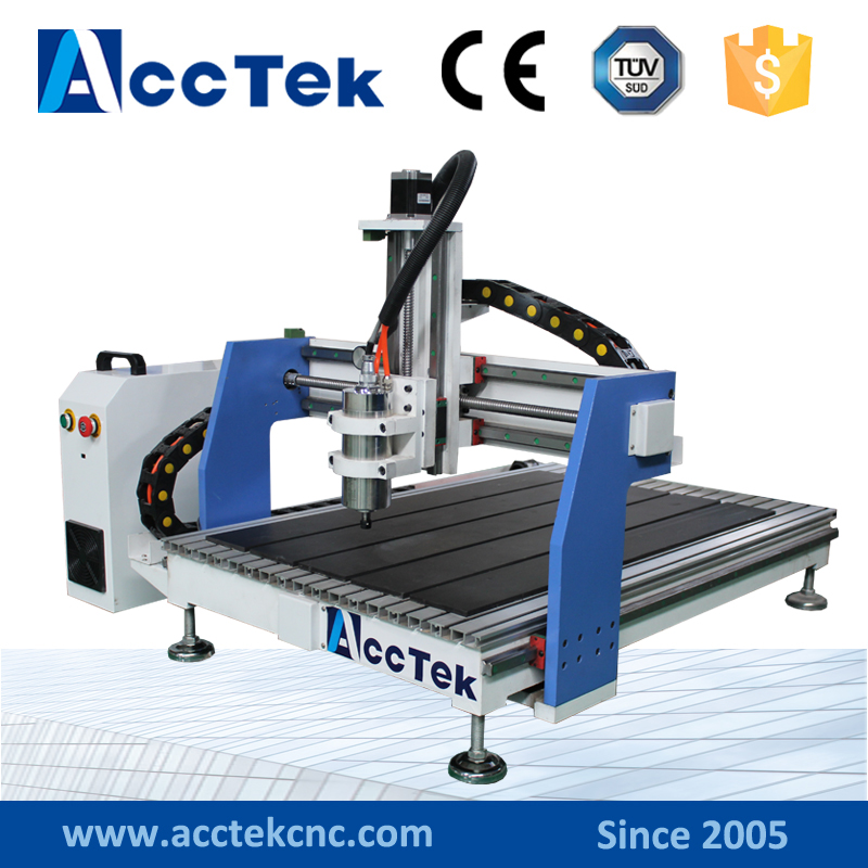 Acctek mini cnc router metal cutting machines 4 axis 6090/6012 with rotary device water tank cooling mini cnc router metal cutting machine