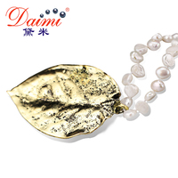 [DAIMI] Vintage Gold Leaf Pendant Necklace 100% Natural Baroque River Pearl Necklace Pearl Jewelry