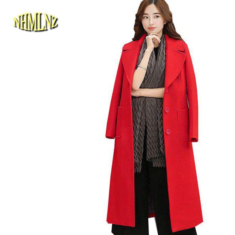 2018 Winter Women Woolen Coat New Leisure Medium - length High quality Temperament Slim Pure color Women Jacket M-XXL OK93