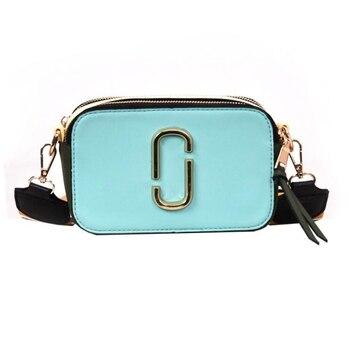 Nuevo bolso de las mujeres 2019 de moda contraste pequeño cuadrado bolsa joker de banda ancha hombro bolsa de mensajero en Europa y América