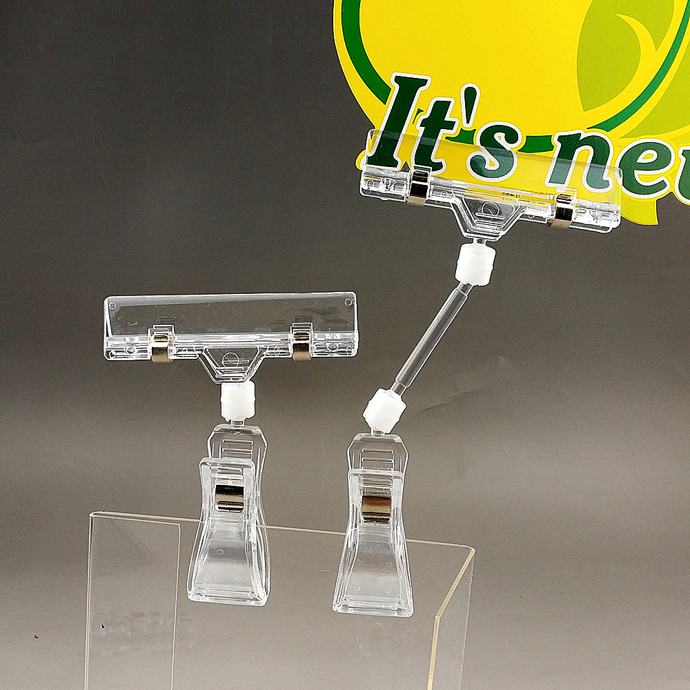 Clear POP Plastic Display Sign Signage Paper Card Price Label Tag Holder Advertising Clips With Rubber Lining 2000pcs