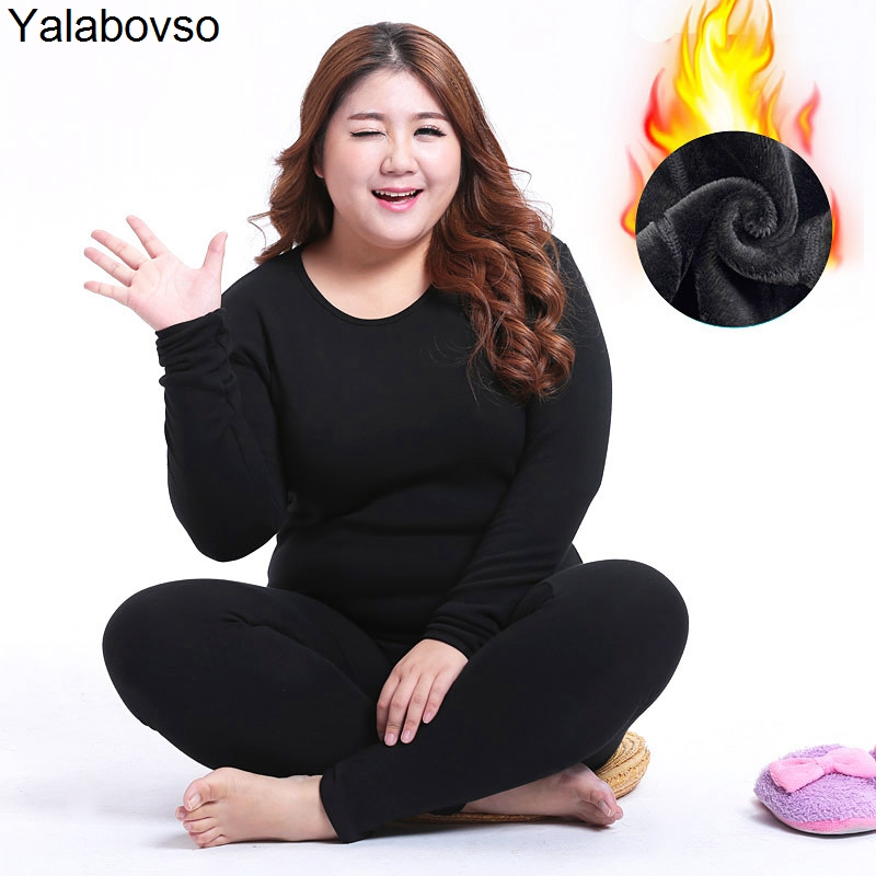 2018 Winter Thick 7XL Size Long Johns With Velvet Seamless Breathable Warm  Ladies Slim Underwears Sets Bottoming Bottoming Suit