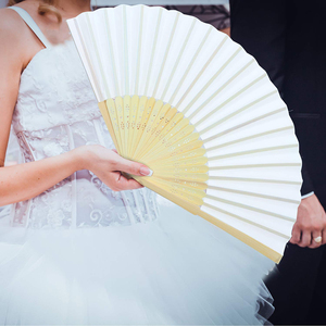 Image 4 - 50pcs/lot White Bamboo Folding Paper Hand Pocket Fan Chinese Fan Wedding Favors Birthday Gifts Party Decoration Home Decor 21cm