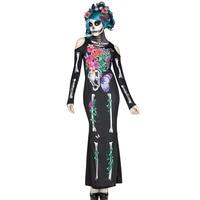Adult Women Halloween Day Dead Costume Ladies Bridal Long Sleeves Black Scary Skeleton Skull Joker Cosplay Dress Plus Size M XL