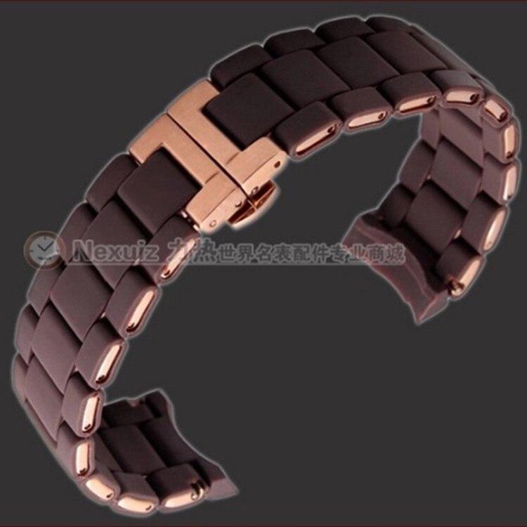 Nexuiz Watchband TOP Silicone genuine Watchbands strap bracelets Rosegold Deployment Buckle steel Straps AR5809 23mm Brown