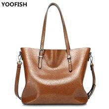 цены YOOFISH   2017 Fashion Women Handbag PU Women Bag Large Capacity Oil Wax Leather Shoulder Bag Casual Tote Bag Crossbody Bag