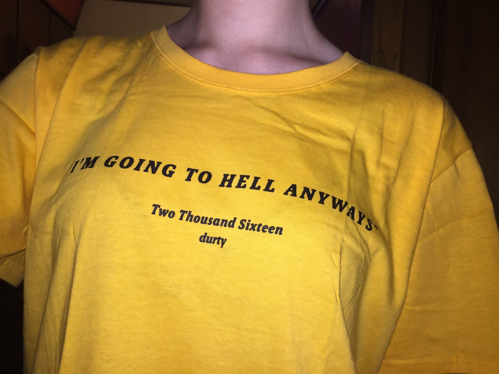 I am going to hell anyways t shirt fashion yellow cotton shirt 90s fashion women goth grunge art t shirt aesthetic tumblr tees