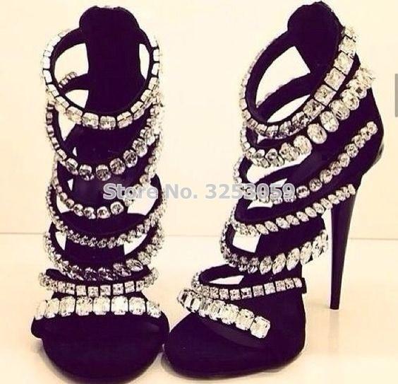 ALMUDENA/Великолепная Свадебная обувь черного и бежевого цвета с перекрестными ремешками и сверкающими кристаллами; блестящие туфли лодочки с... - 3