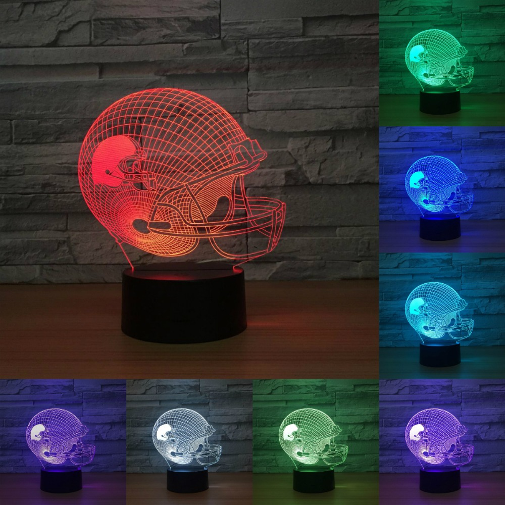 Football cap 3d Led NightLight Touch 7 Color Changing Gradient Atmosphere Lamp light Christmas Festival Birthday Gift IY803114