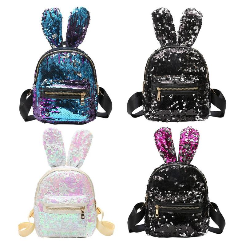 Fashion backpack PU leather Women bag Sweet girl mini shoulder bag Cute rabbit ear Sequins rivet small backpack Travel Backpack mara s dream fashion new backpack pu leather women bag sweet girl mini shoulder bag cute rabbit ear sequins rivet small backpack